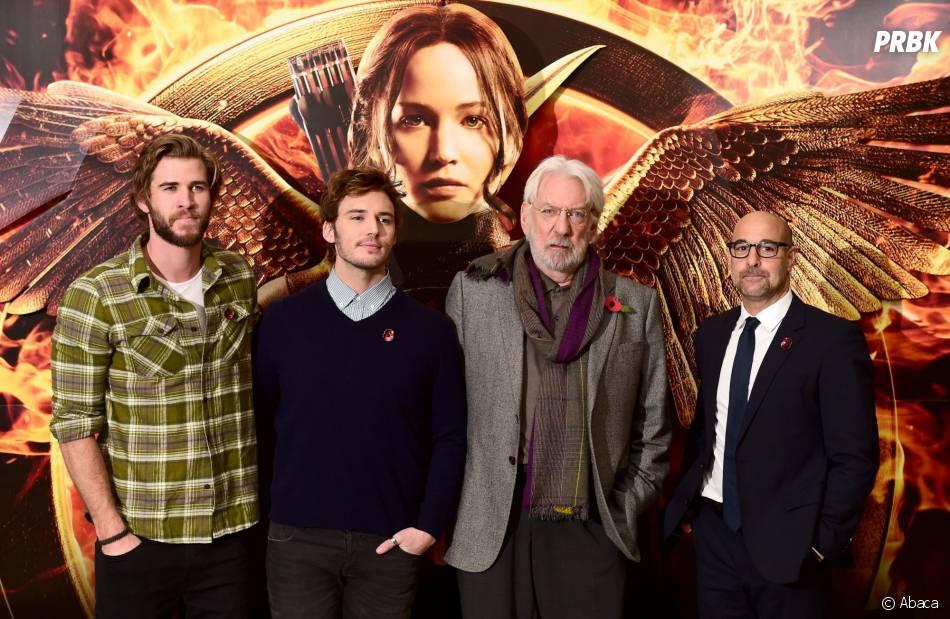 Hunger Games 3 :  l'équipe du film (Liam Hemsworth, Sam Claflin, Donald Sutherland et Stanley Tucci) durant un photocall à Londres   (9 novembre 2014)