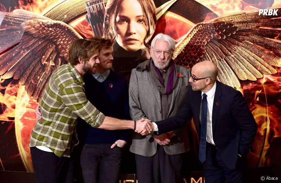 Hunger Games 3 : Liam Hemsworth, Sam Claflin, Donald Sutherland et Stanley Tucci présent à Londres lors d'un photocall   (9 novembre 2014)