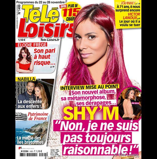 Shy'm en Une du magazine Télé-Loisirs, numéro du 22 au 28 novembre 2014