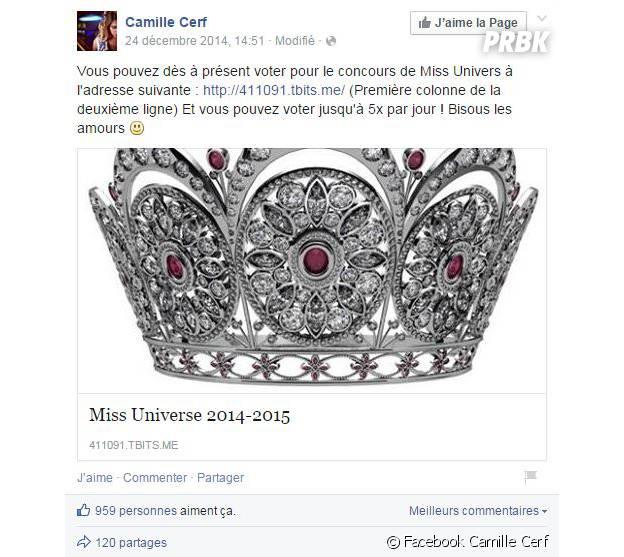 Camille Cerf : Miss France 2015 compte sur ses fans pour le concours Miss Univers 2015