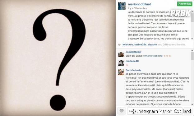 Marion Cotillard : son coup de gueule sur Instagram