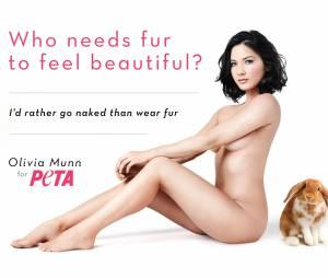 Olivia Munn nue pour la PETA dans une campagne sexy