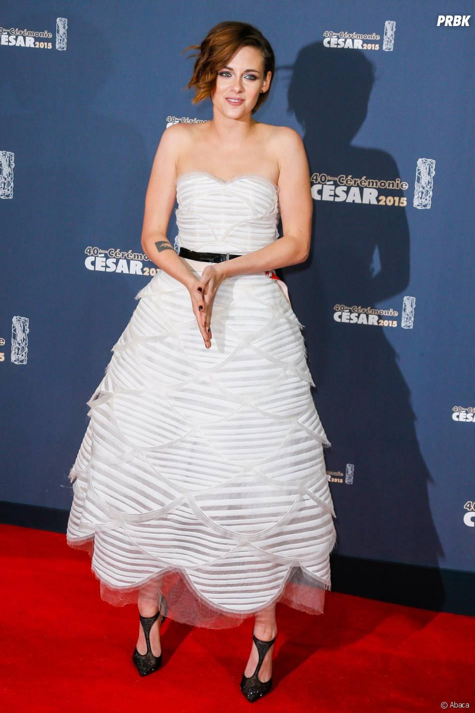 Kristen Stewart sur le tapis rouge des César 2015 au théâtre du Châtelet à Paris, le 20 février 2015