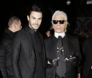 """Baptiste Giabiconi et Karl Lagerfeld pour le lancement du blog """"Giabiconi Style"""""""