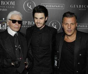 """Baptiste Giabiconi, Jean Roch et Karl Lagerfeld pour le lancement du site """"Giabiconi Style"""""""