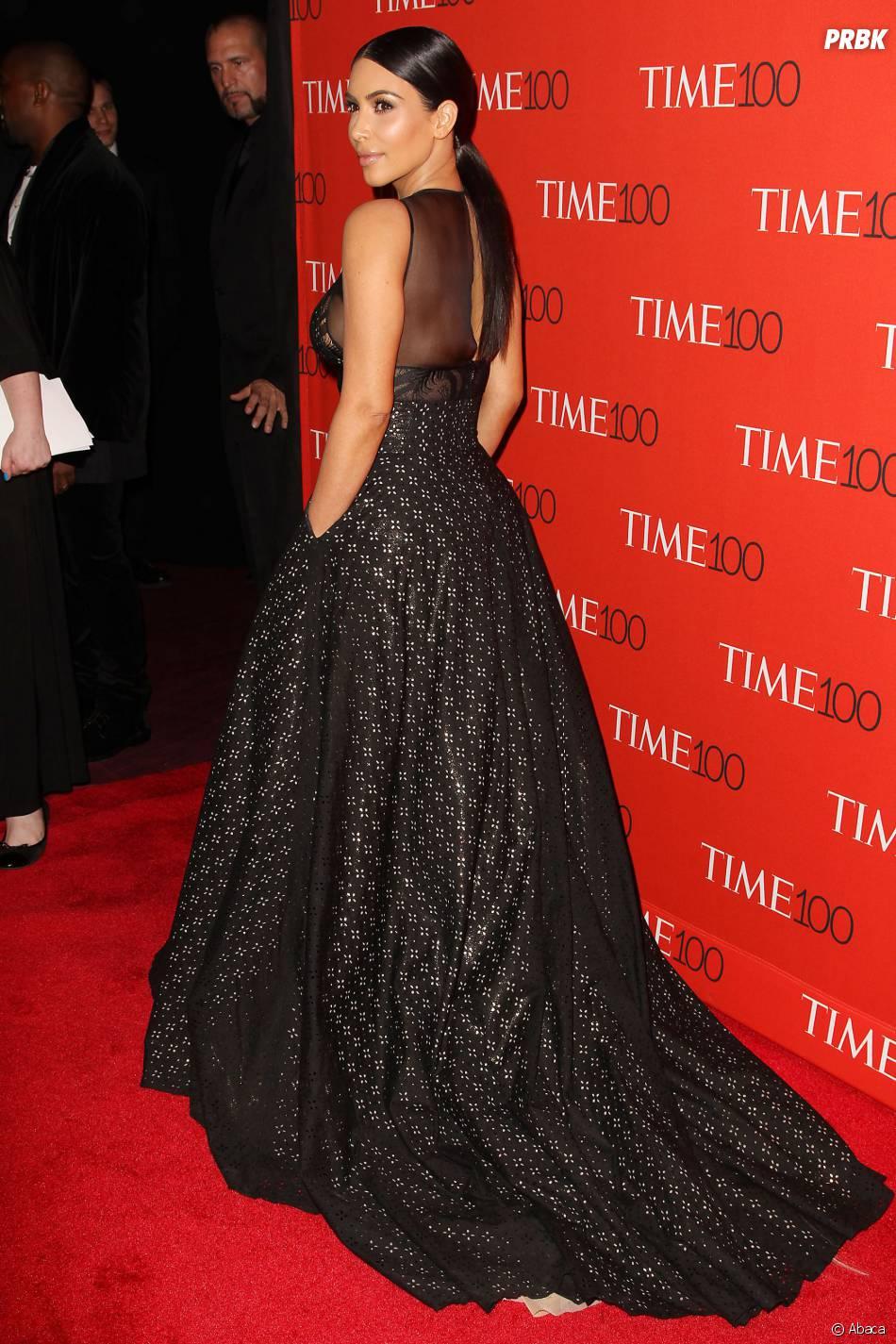 Kim Kardashian sur le tapis rouge de la soirée du Time Magazine en l'honneur du top 100 des personnalités les plus influentes du monde, le 21 avril 2015 à New-York