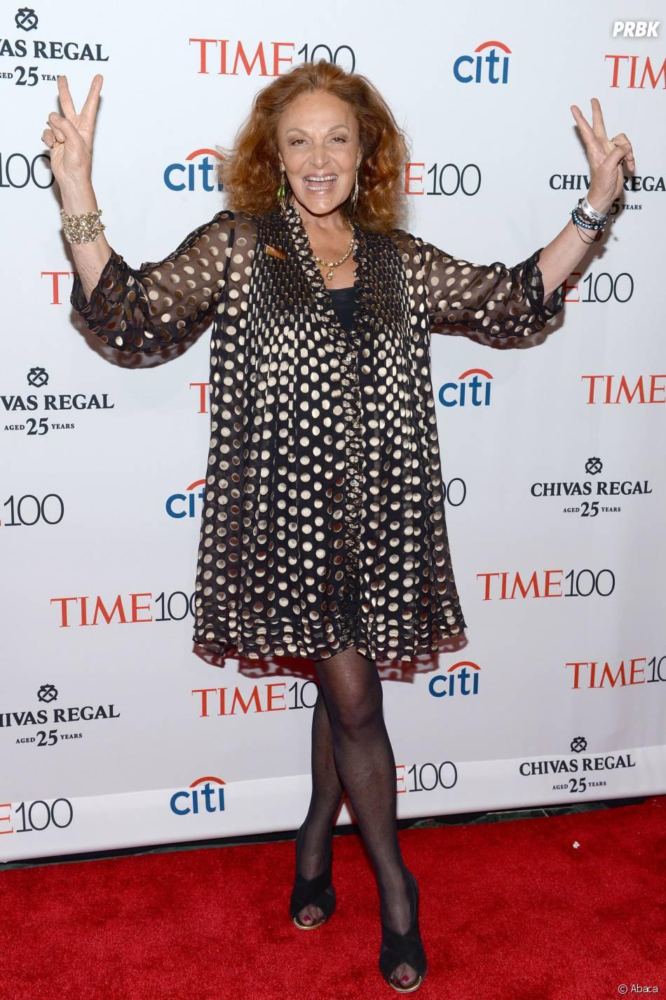 Diane Von Furstenberg sur le tapis rouge de la soirée du Time Magazine en l'honneur du top 100 des personnalités les plus influentes du monde, le 21 avril 2015 à New-York