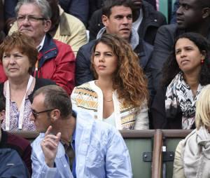 Noura, la compagne de Jo-Wilfried Tsonga durant les huitièmes de finale à Roland Garros le 31 mai 2015