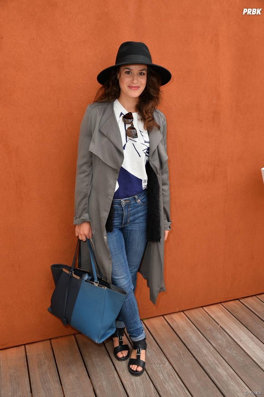 Alice David lookée au Village de Roland Garros, le 1er juin 2015