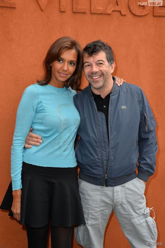 Karine Le Marchand et Stéphane Plaza entre amis au Village de Roland Garros, le 1er juin 2015