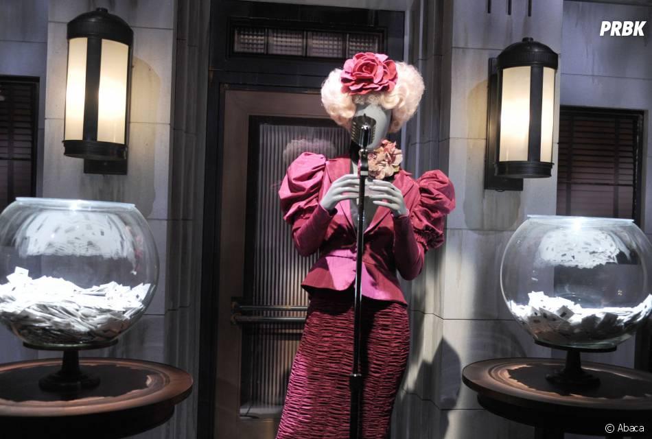Hunger Games : le costume d'Effie lors de la Moisson du premier volet à l'exposition à New York