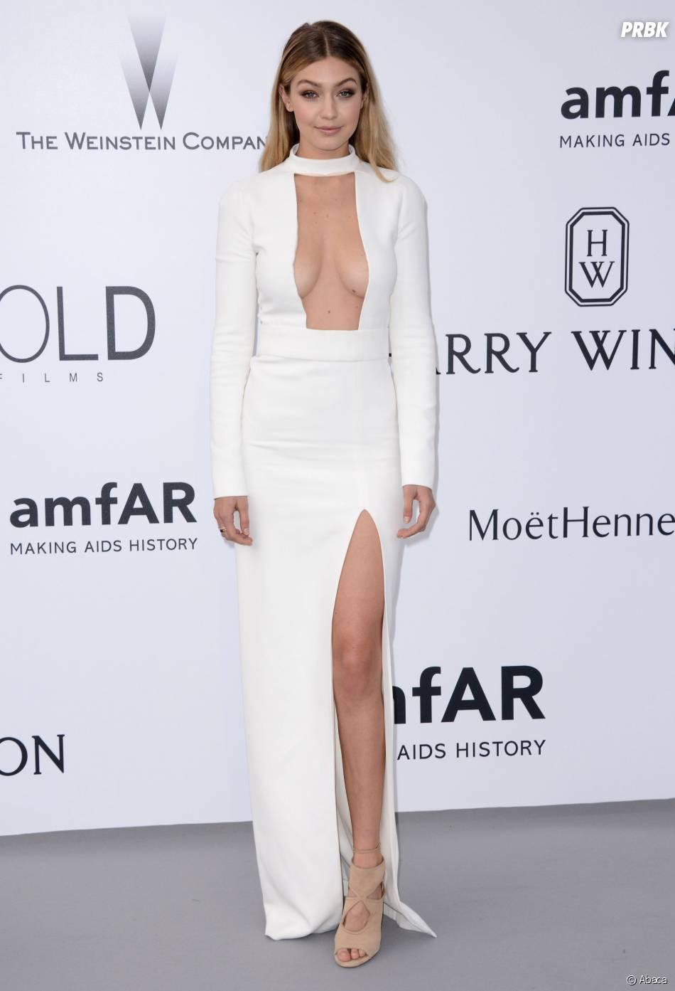 Gigi Hadid sexy dans une robe très décolleté au gala amfaR