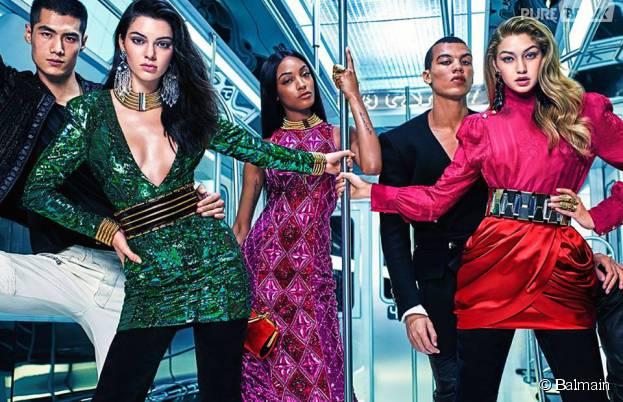Kendall Jenner, Gigi Hadid, Jourdan Dunn égéries sexy de la collection Balmain x H&M créée par Olivier Rousteing, en boutiques le 5 novembre 2015