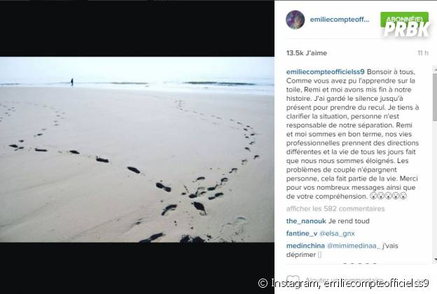 Emilie Fiorelli (Secret Story 9) parle de sa rupture avec Rémi Notta sur Instagram, le 4 janvier 2016