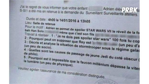 Star Wars 7 : une élève collé à cause d'un spoiler