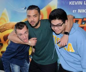 Squeezie, JhonRachid et Le Rire Jaune à l'avant-première de Ratchet & Clank à Paris le 3 avril 2016