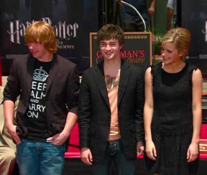Daniel Radcliffe, Emma Watson et Rupert Grint en 2007
