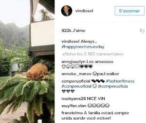 Les hommages à Paul Walker postés par Vin Diesel le jour de son anniversaire.