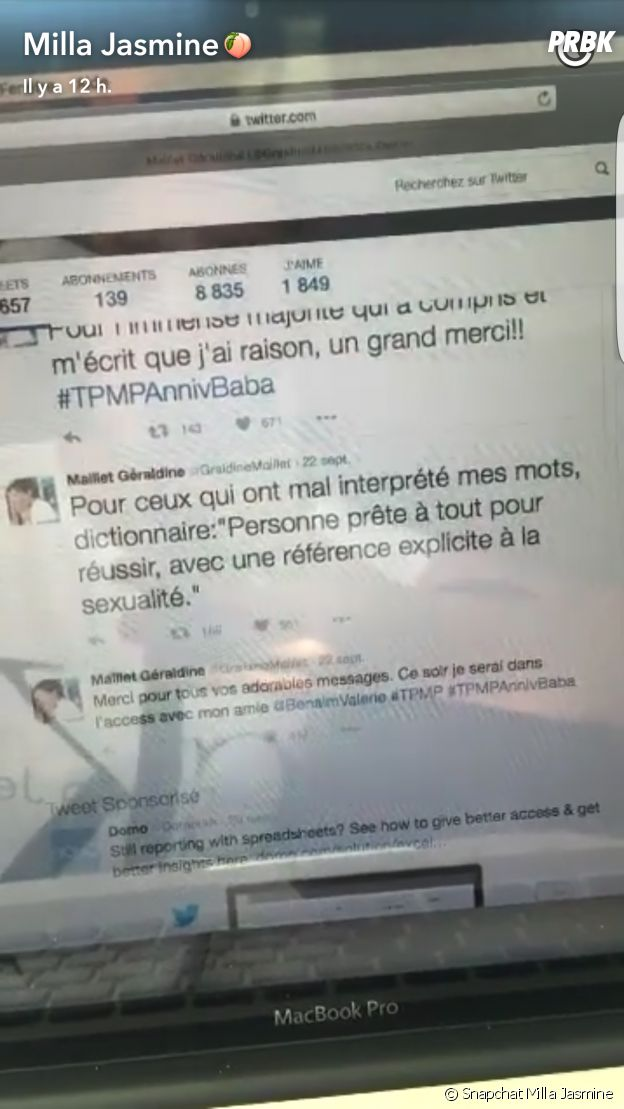 """Milla Jasmine (Les Marseillais & Les Ch'tis VS Monde) insultée de """"putes"""" par Géraldine Maillet dans TPMP"""