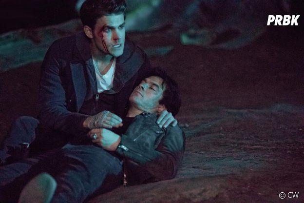 The Vampire Diaries saison 8 : Paul Wesley et Ian Somerhalder sur une photo de l'épisode 14