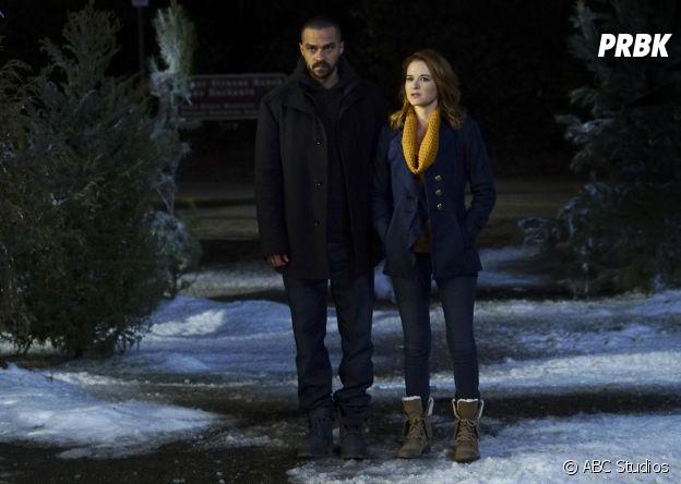 Grey's Anatomy saison 13, épisode 16 : Jackson (Jesse Williams) et April (Sarah Drew) sur une photo