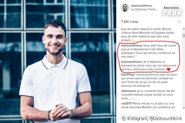 Bastien (Secret Story 10) répond aux attaques des internautes après sa rupture avec Mélanie