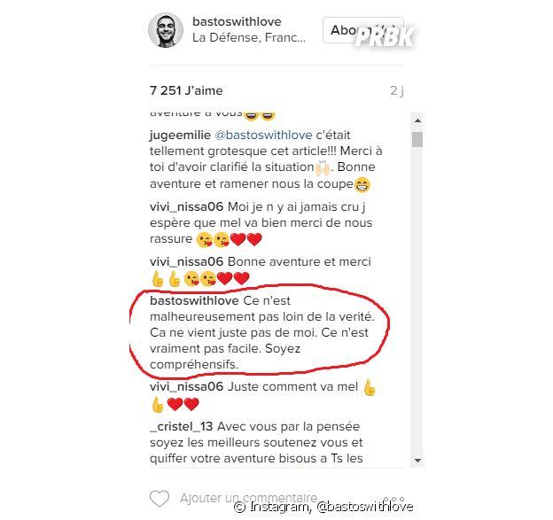 Bastien (Secret Story 10) séparé de Mélanie : il répond aux attaques des internautes