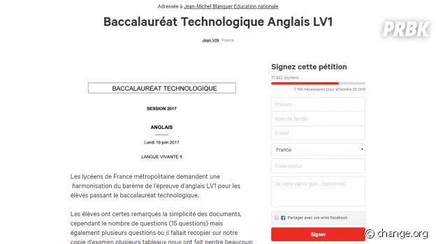 Bac 2017 : une pétition contre le sujet d'anglais des séries technologiques, jugé trop long