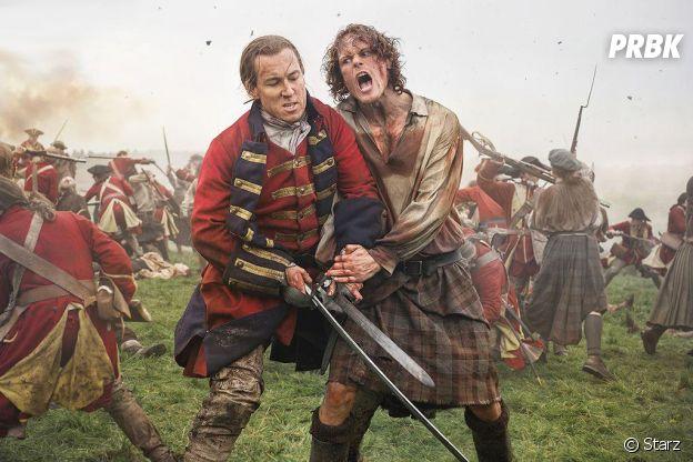 Outlander saison 3 : Jamie (Sam Heughan) face à Jack Randall (Tobias Menzies)