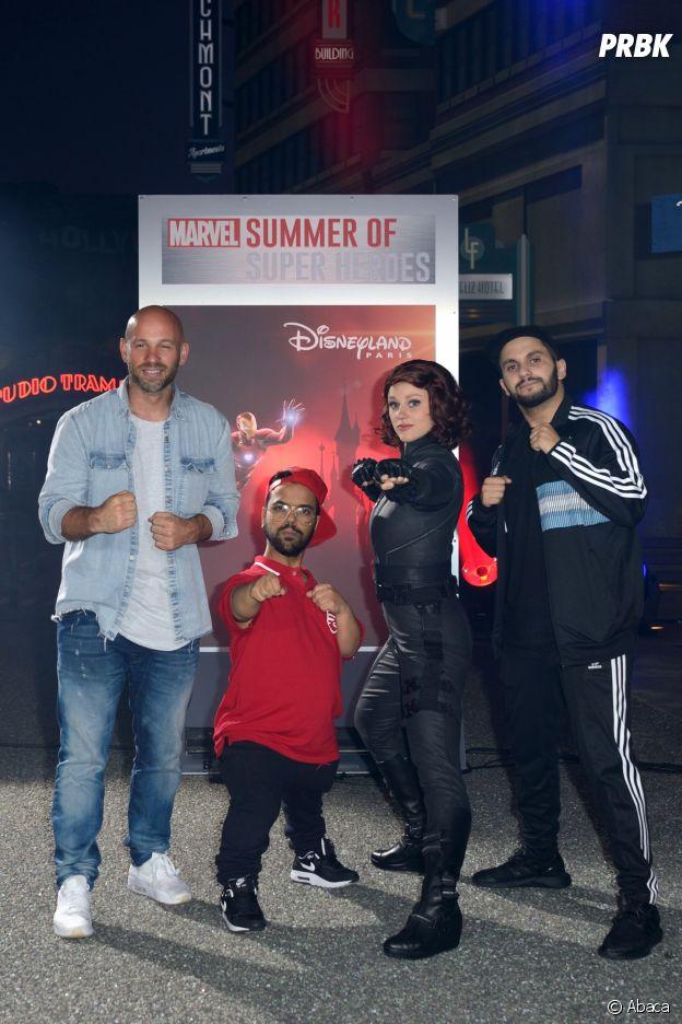 Franck Gastambide, Malik Bentalha et Anouar Toubali présents au lancement de Marvel Summer of Super Heroes à Disneyland Paris ce samedi 9 juin 2018