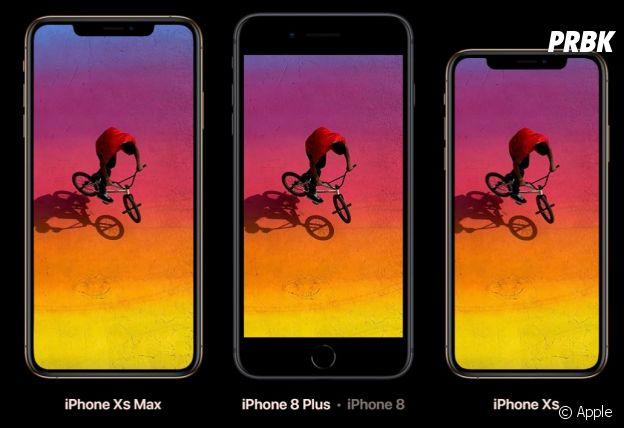 iPhone Xs, iPhone XS Max et iPhone 8, la comparaison des tailles