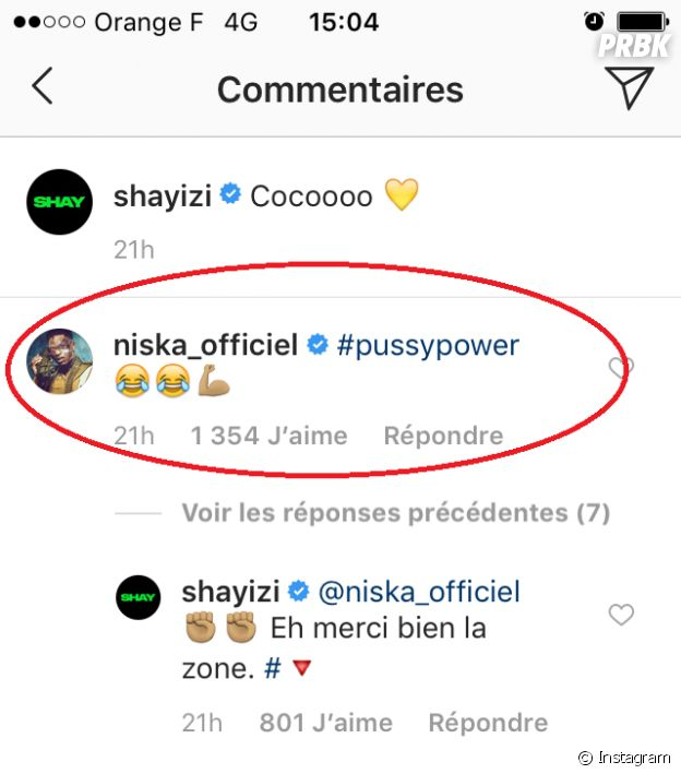 Le commentaire de Niska sur la photo de Shay