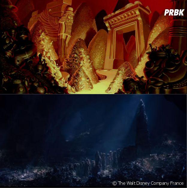 Aladdin : la caverne aux merveilles dans le dessin-animé VS dans le film