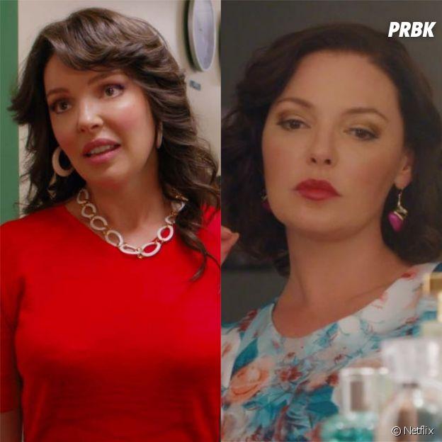 Toujours là pour toi (Firefly Lane) : Katherine Heigl (Tully Hart) et Sarah Chalke (Kate Mularkey) rajeunies avec des effets spéciaux, du maquillage et des perruques, elles se confient sur les coulisses