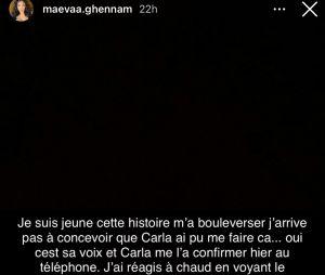 Maëva Ghennam revient sur ses excuses faites à Carla Moreau et change de version