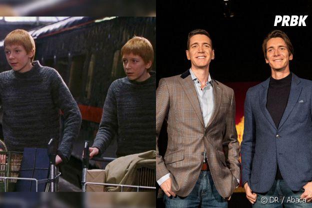 James et Oliver Phelps dans le premier film Harry Potter VS aujourd'hui