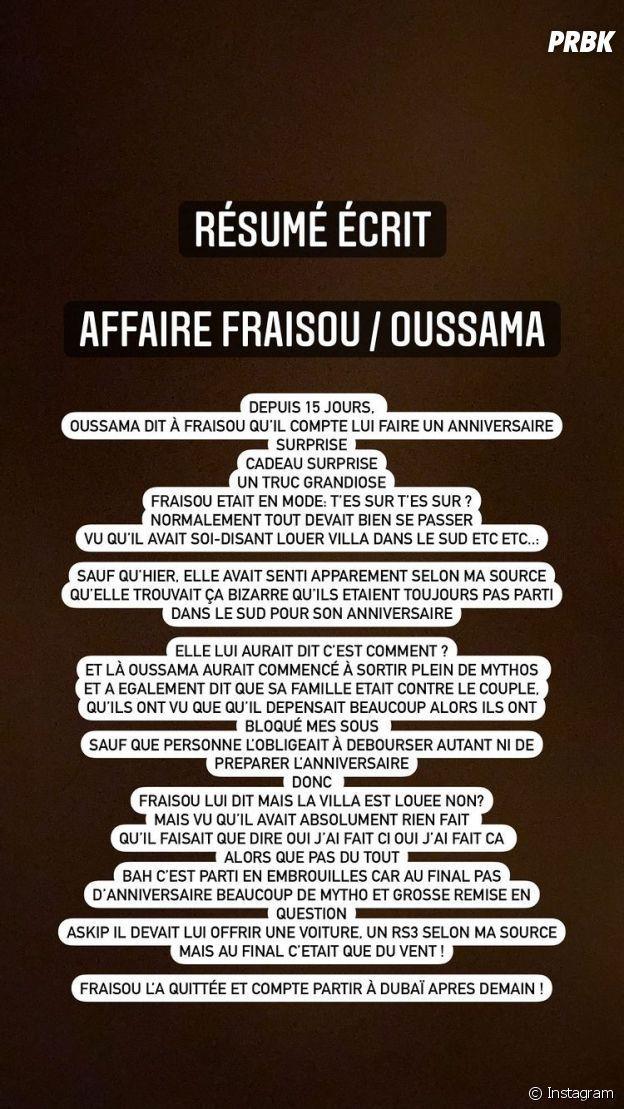 Sarah Fraisou aurait largué Oussama selon Aqababe
