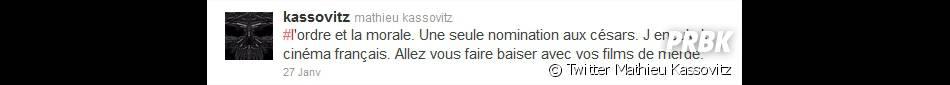Mathieu Kassovitz s'emporte sur Twitter