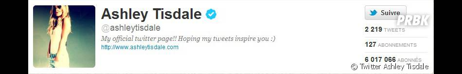 Ashley Tisdale atteint les 6 millions de followers sur Twitter