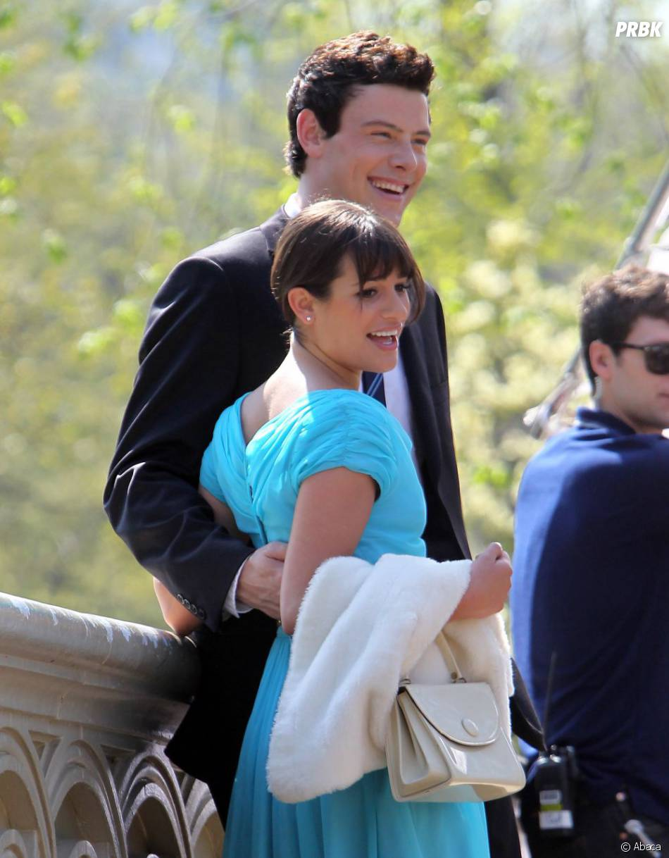 Lea Michele et Cory Monteith sur le tournage de Glee