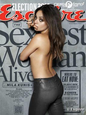 Mila Kunis, topless pour Esquire