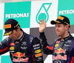 Sebastian Vettel et Mark Webber sur le podium du Grand Prix de Malaisie 2013
