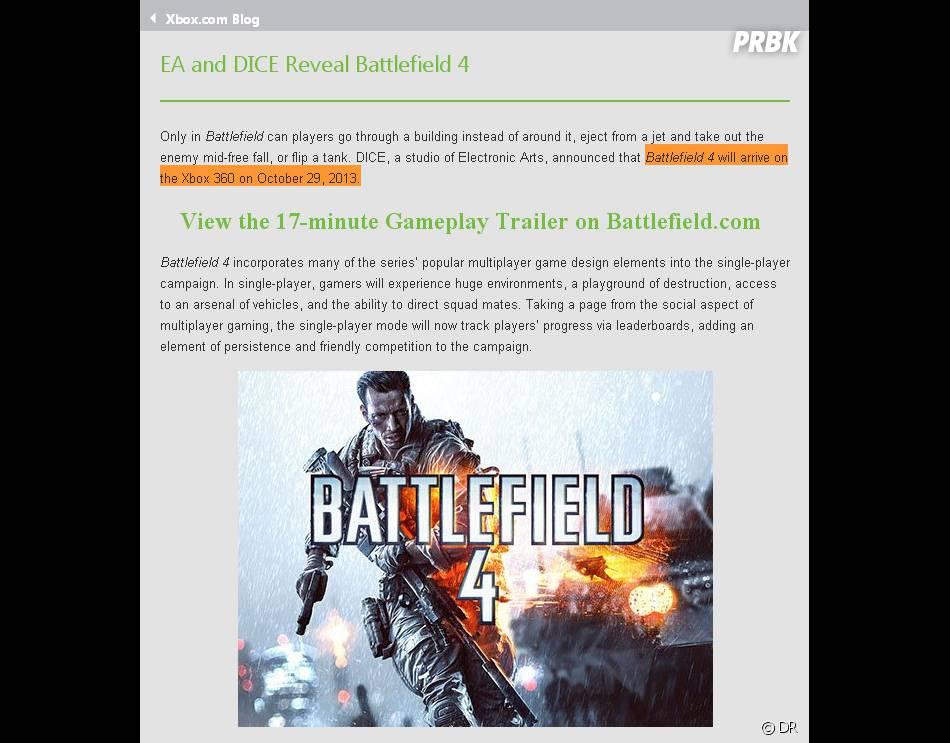 Selon le blog Xbox, Battlefield 4 sortirait le 29 octobre sur PS3 et Xbox 360