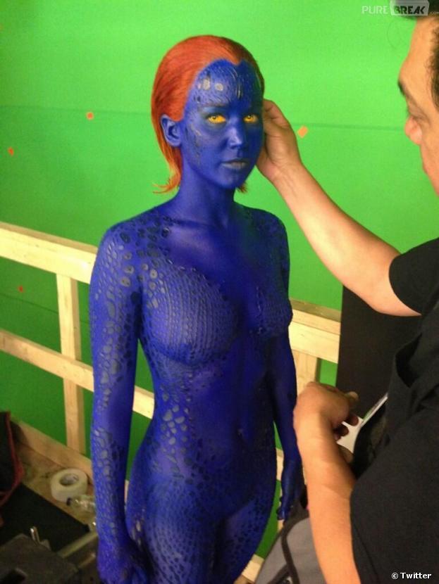 Jennifer Lawrence en Mystique sur le tournage de X-Men : Days Of Future Past