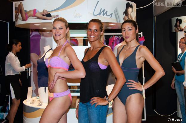 """Laure Manaudou présente sa marque de maillots de bain """"Laure Manadou Design"""" à Paris le samedi 6 juillet 2013"""
