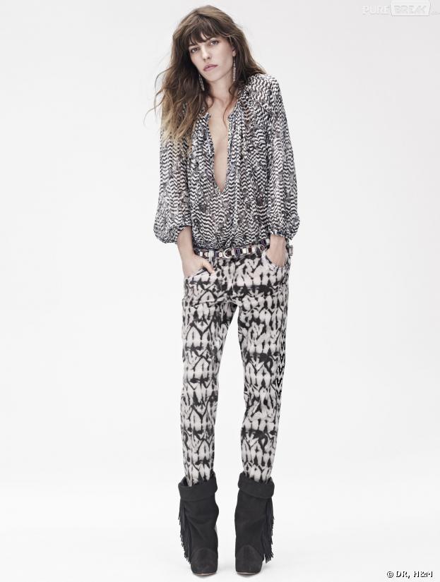 Isabel Marant pour H&M : Lou Doillon porte une blouse imprimée (79,95€), un jean tie-dye (79,95€) et des boots frangés en cuir (199€)