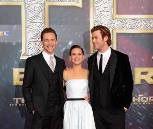Tom Hiddleston, Natalie Portman et Chris Hemsworth à l'avant-première de Thor : le monde des ténèbres à Berlin le 27 octobre 2013