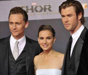 Tom Hiddleston, Chris Hemsworth et Natalie Portman à l'avant-première de Thor : le monde des ténèbres à Berlin le 27 octobre 2013