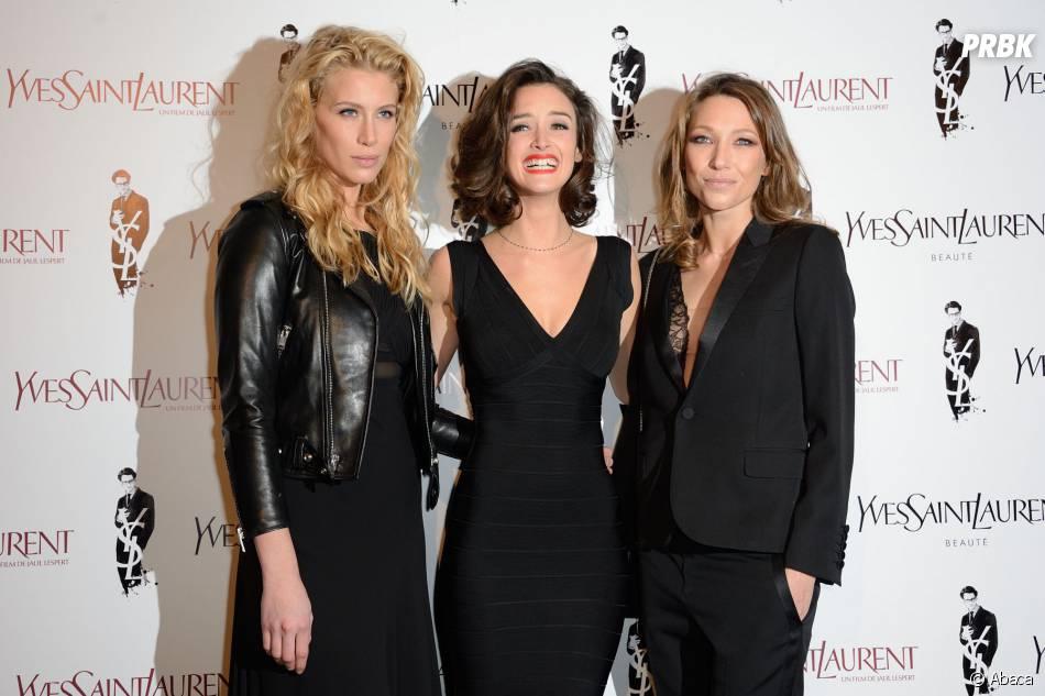Marie de Villepin, Charlotte Le Bon et Laura Smet sur le tapis rouge d'Yves Saint Laurent, le 19 décembre 2013 à Paris