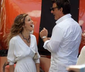 Sarah Jessica Parker et Chris Nothpendant le tournage de Sex and the City 2 en 2009